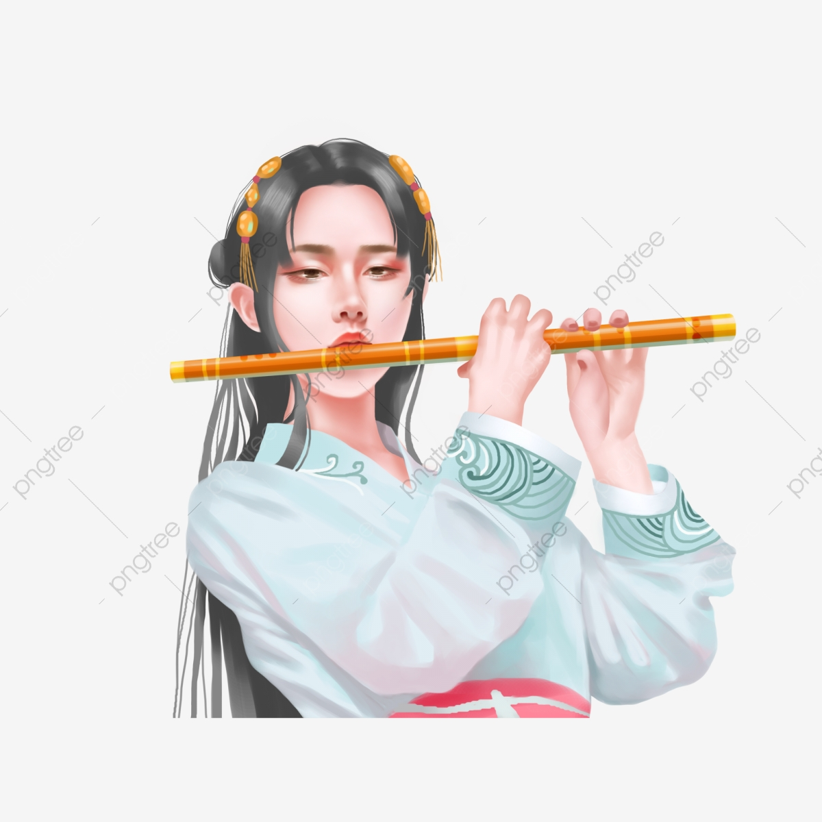 Elemento De Desenho Animado Mulher Triste Tocando A Flauta Flauta