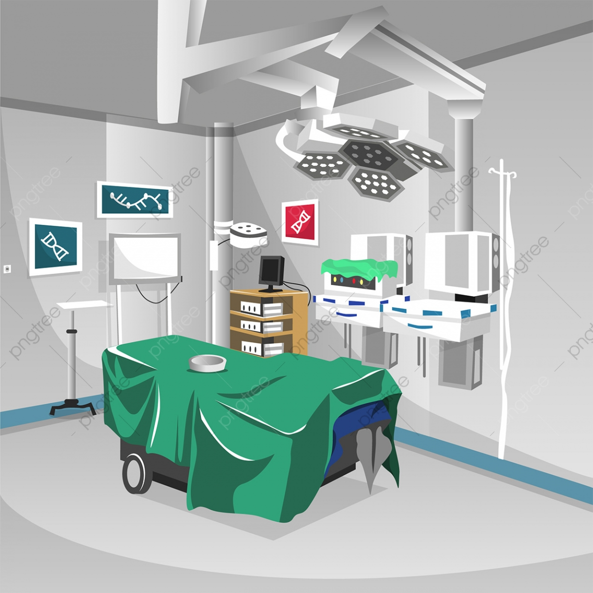 Surgery Room At Hospital With Lamp Modern Operation