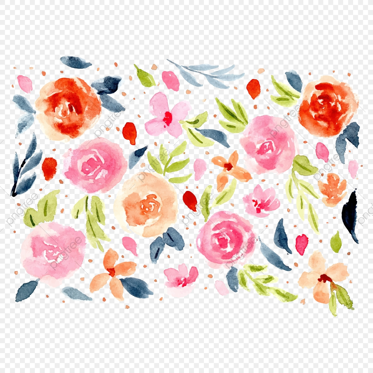 Sweet Floral Watercolor Background Floral Flower Leaves Png And