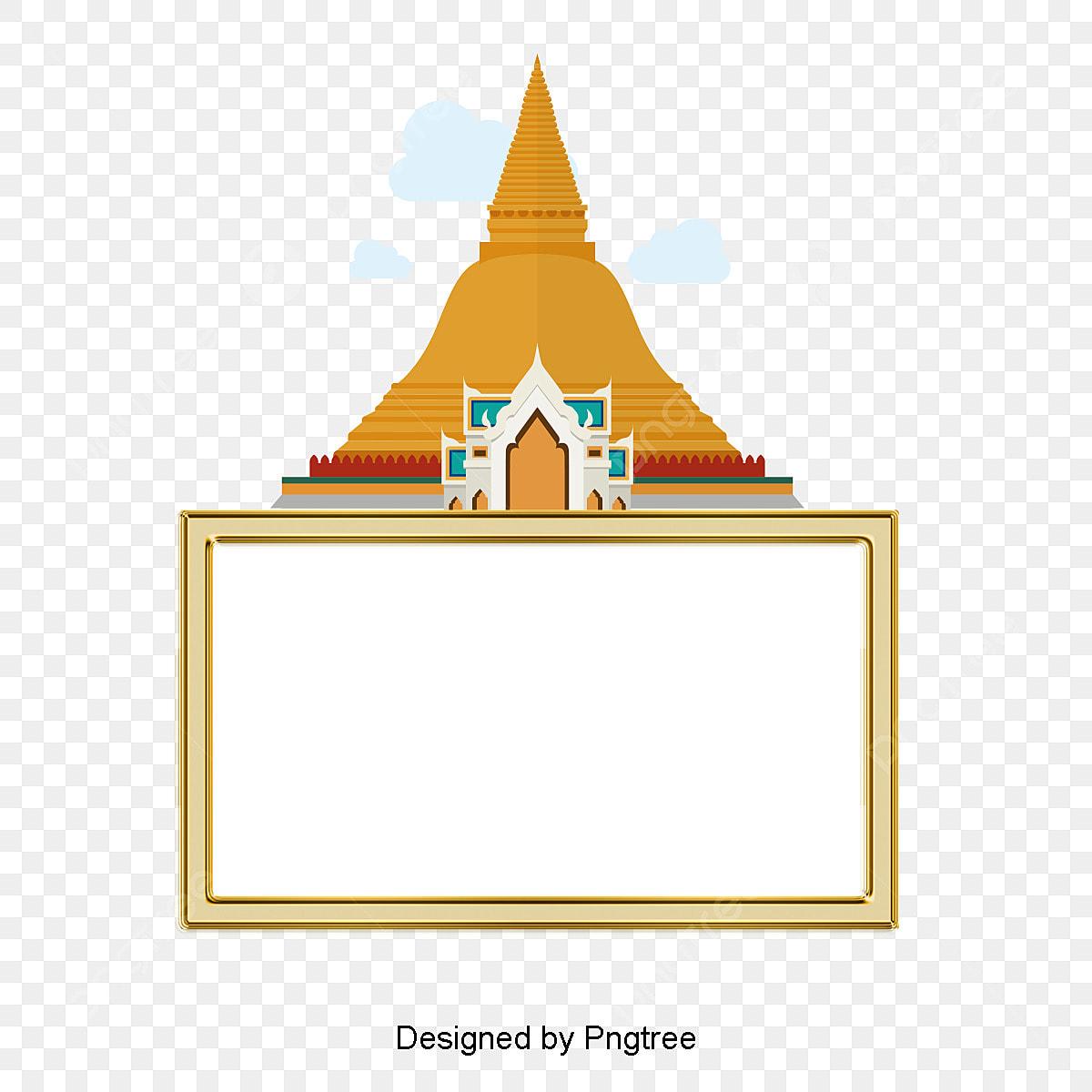 Thailand Building Text Box Cartoon Decorative Pattern
