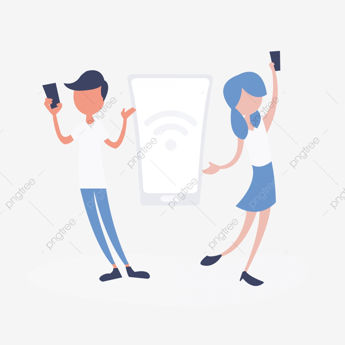 L Uomo Donna Gioca Cellulare Wifi Cartone Animato Illustrazione