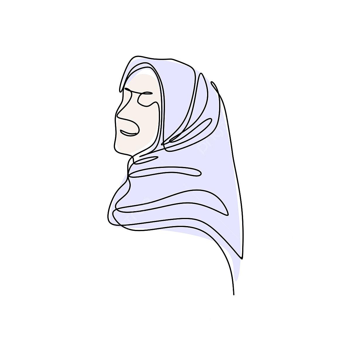 Gambar Bergaya Gadis Tudung Satu Garis Lukisan Arab Arabian Arab Png Dan Vektor Untuk Muat Turun Percuma