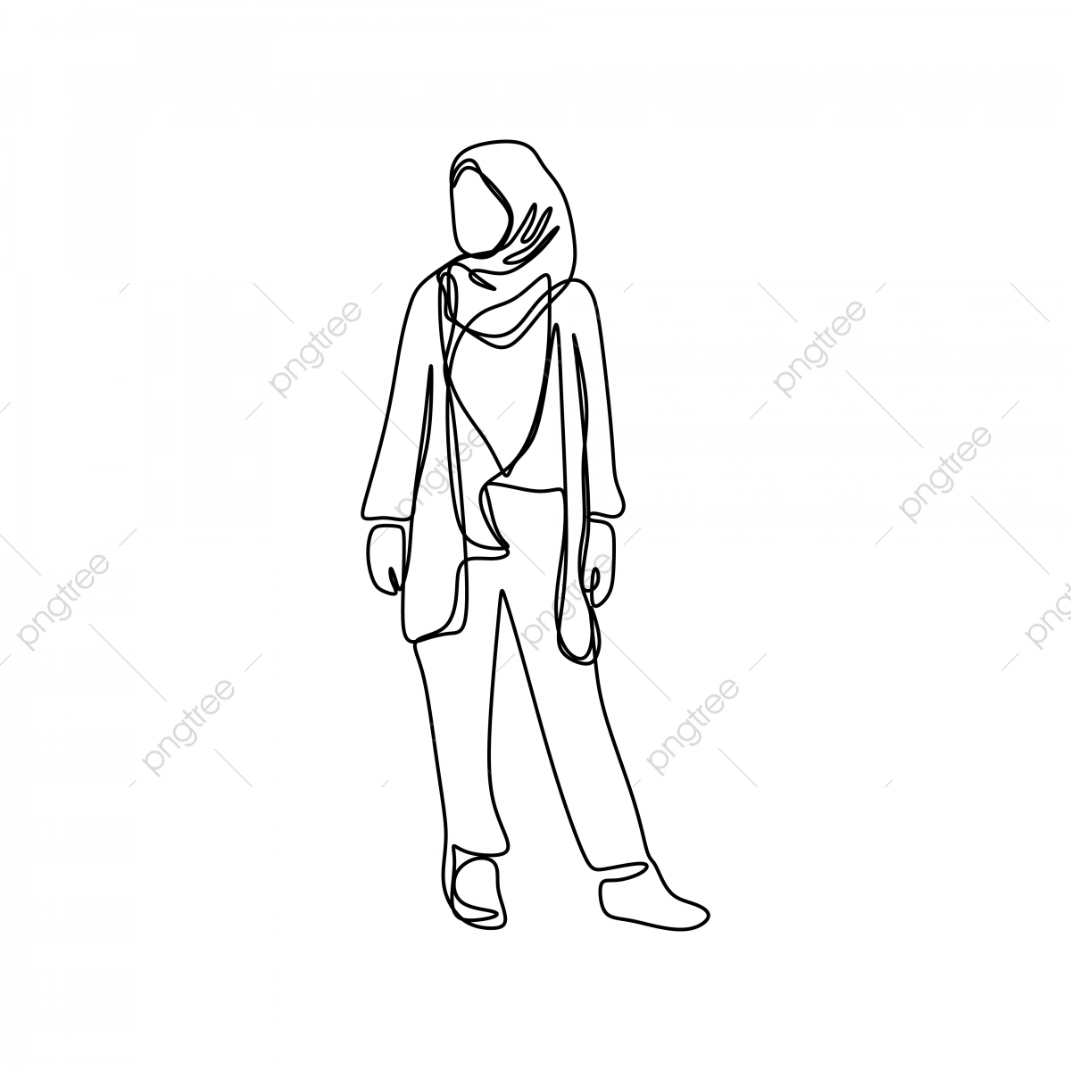 Trendy hijab girl wearing modern fashion with one continuous