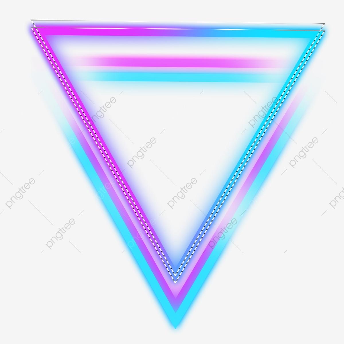 Triangle transparent. Neon color glowing border