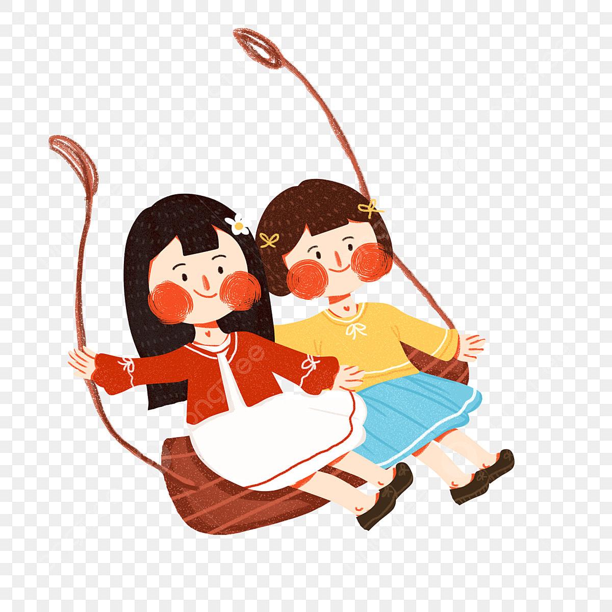 ブランコに乗っている2人の女の子は商業的要素を使うことができます