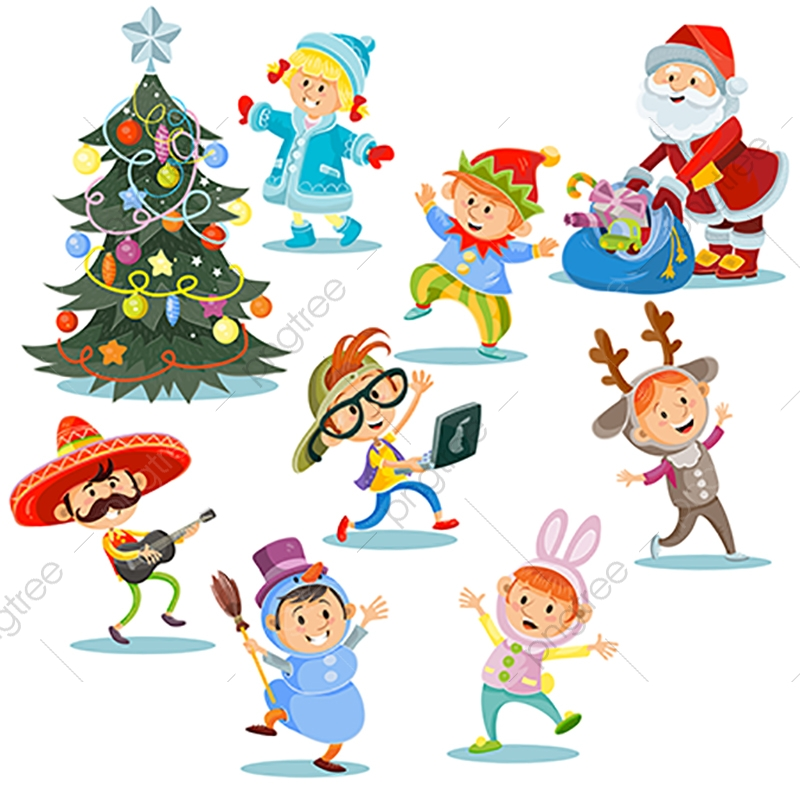 Vector Christmas Carnival Party Cartoon Children In Costumes