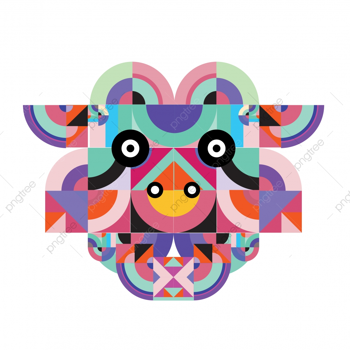 Vector Colorful Abstract Polygonal Illustration Animal Face