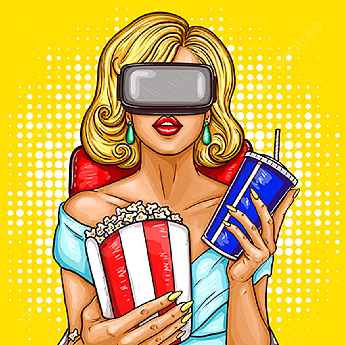 834e6dd9f Vector pop art mulher assistindo Filme com óculos de realidade virtual  Grátis PNG e Vetor