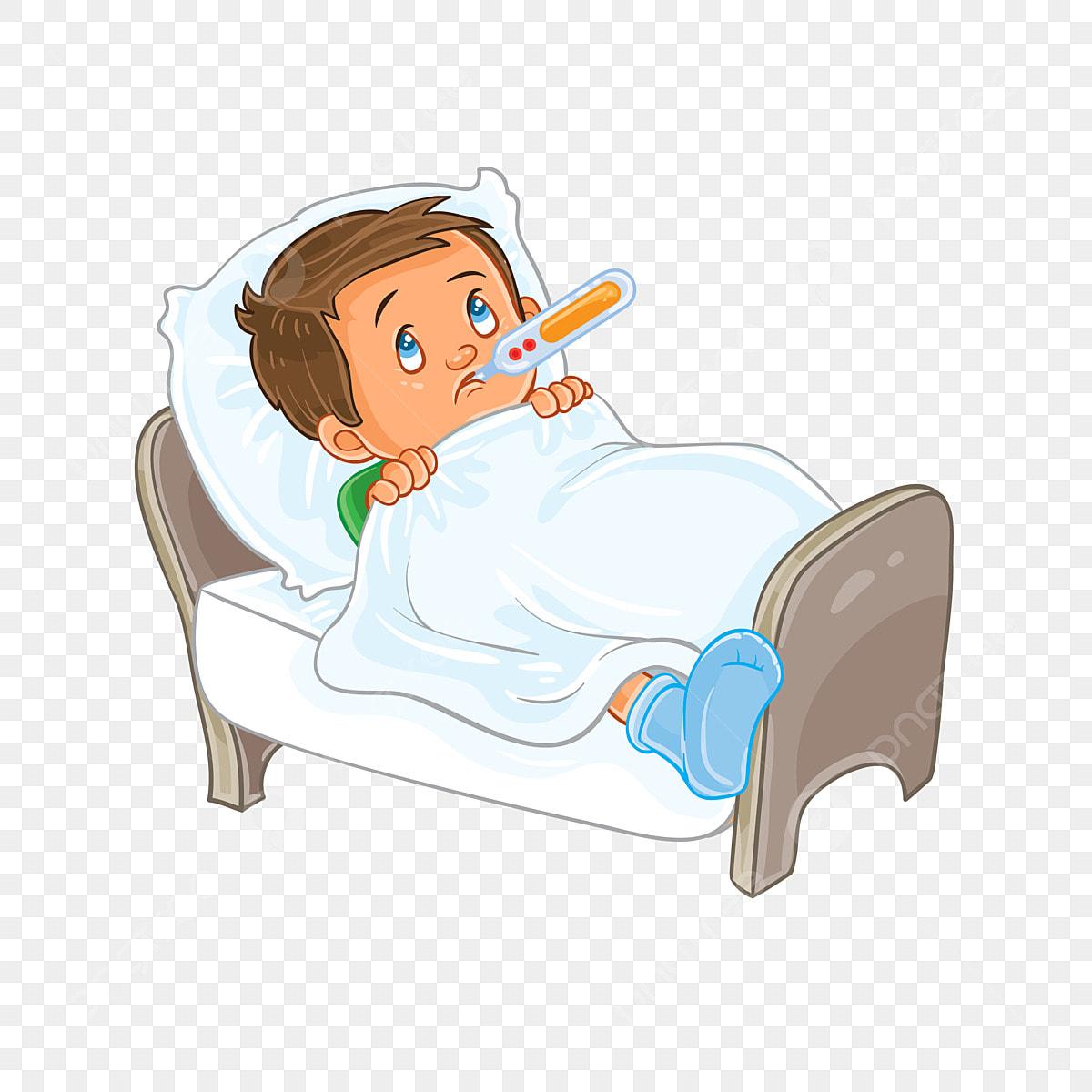 Vektor Sakit Anak Kecil Terbaring Di Tempat Tidur Dengan