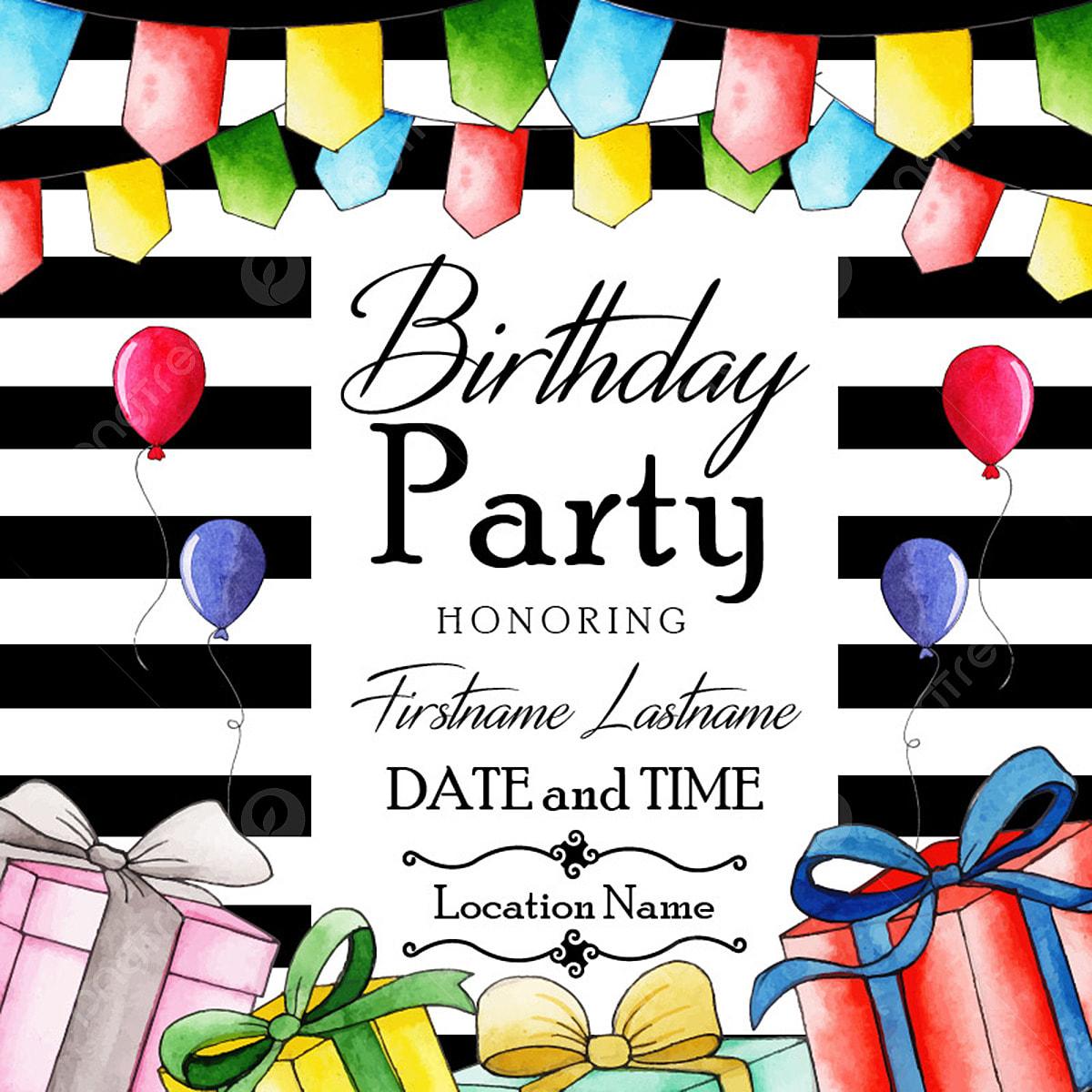 Watercolor Birthday Invitation Card Watercolor Color