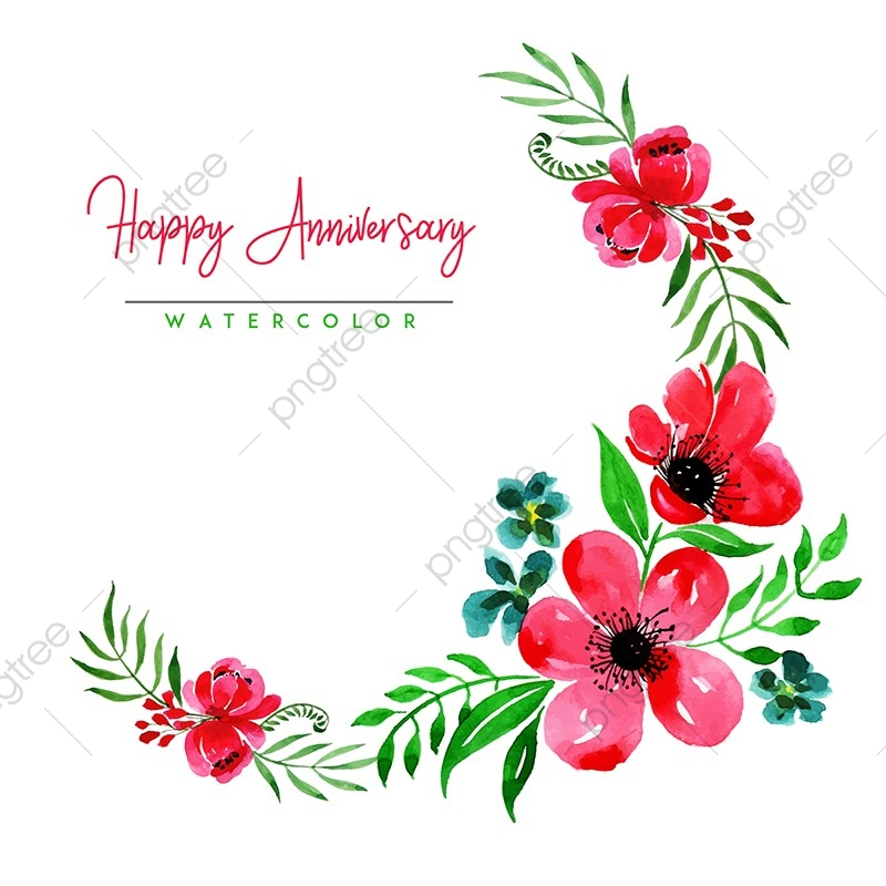 Watercolor Floral Happy Anniversary Background, Flower ...