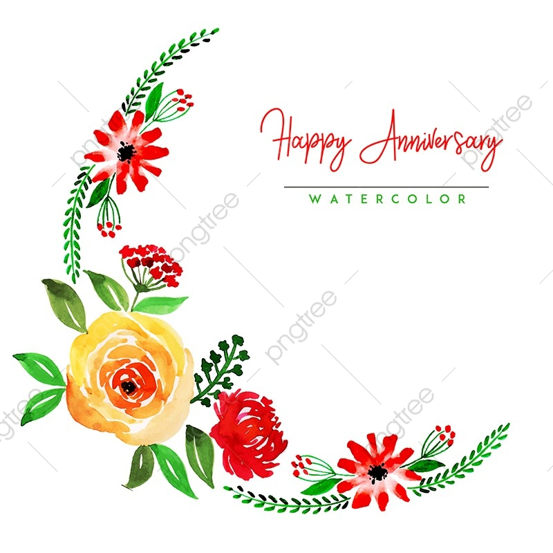 Watercolor Floral Happy Anniversary Background Watercolor Color Floral Png And Vector With Transparent Background For Free Download