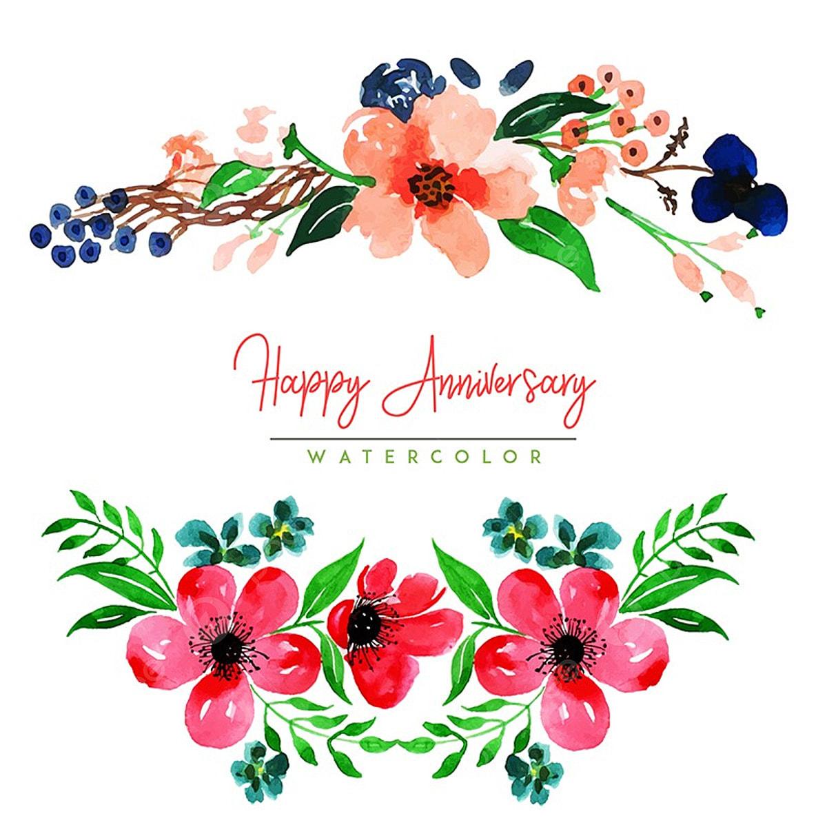Watercolor Floral Happy Anniversary Background, Watercolor