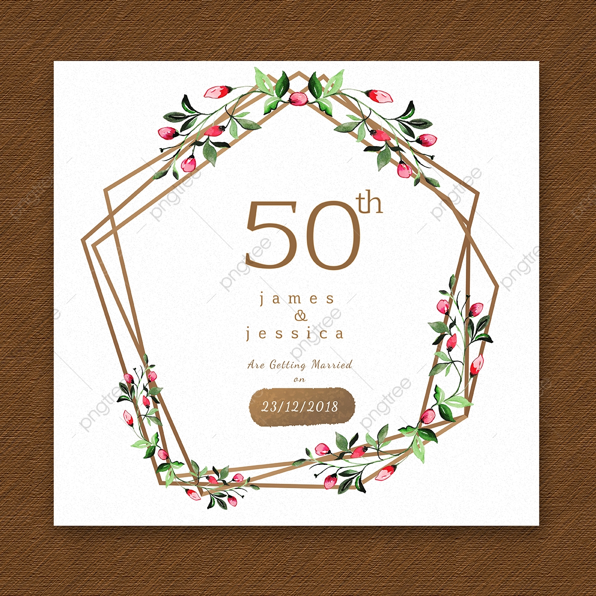 Watercolor Floral Happy Anniversary Wooden Frame Invitation