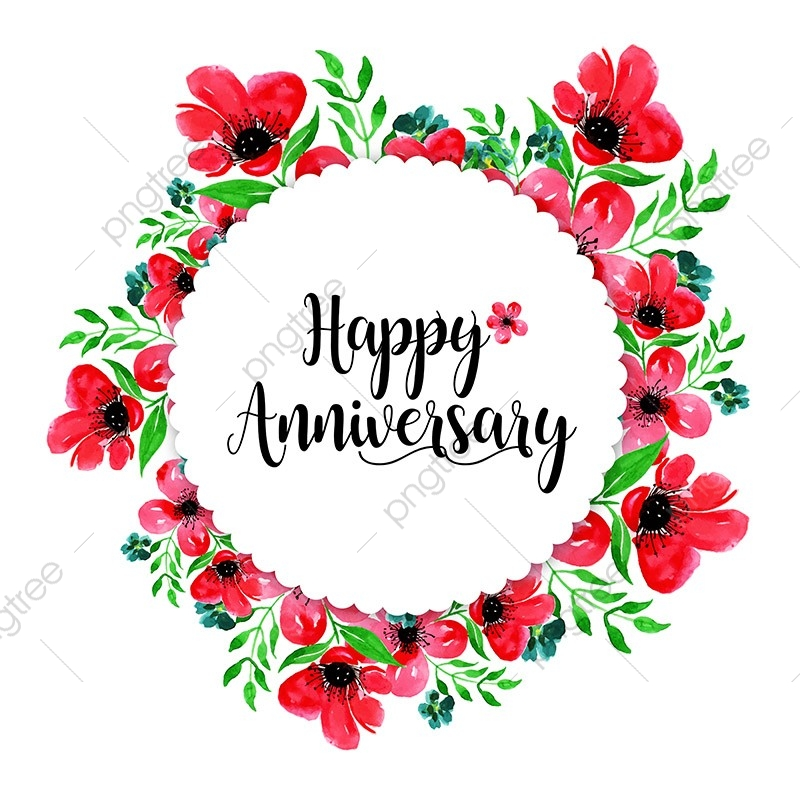Watercolor Floral Wedding Anniversary Frame Watercolor Color Colorful Png And Vector With Transparent Background For Free Download