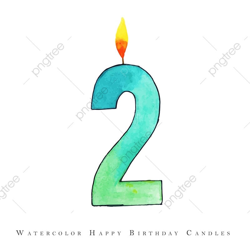 Watercolor Happy Birthday Candle 2 Watercolor Color Colorful Png