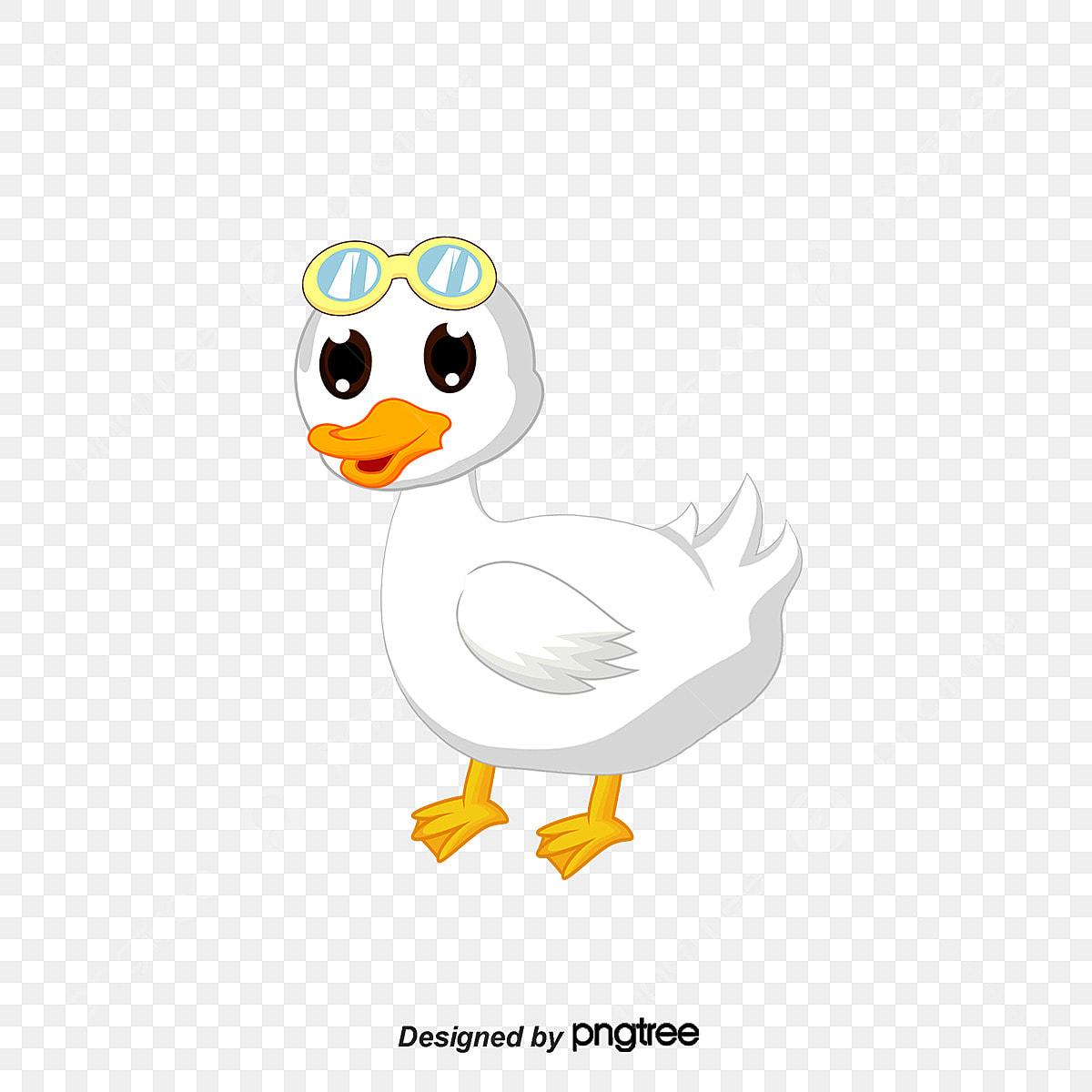 Gambar Pakai Kacamata Putih Itik Gaya Kartun Sedikit Sayap Putih Png Dan Psd Untuk Muat Turun Percuma