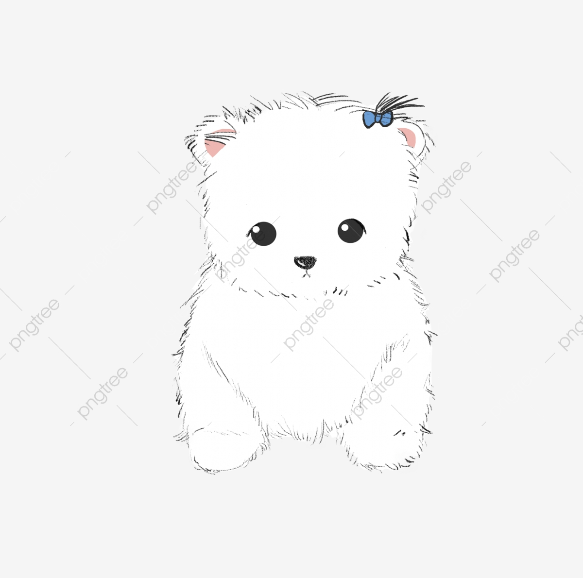 White Puppy Beautiful Puppy Cute Dog Hand Drawn Puppy Puppy Illustration Sprouting Puppy Blue Card Png Transparent Clipart Image And Psd File For Free Download