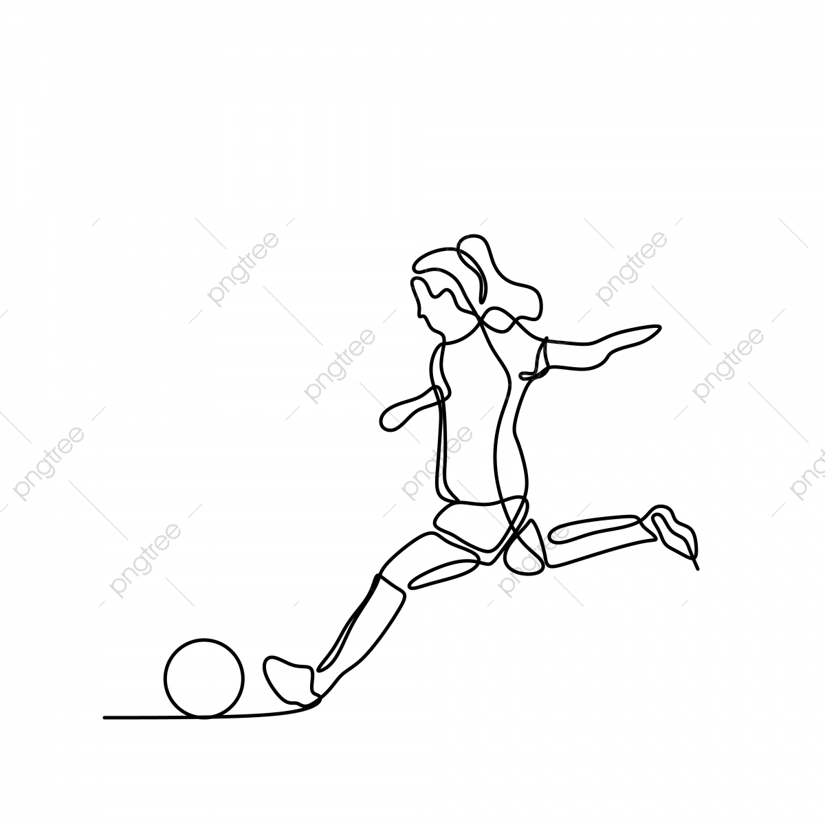 Women Soccer Player Continuous Line Art Drawing Kick Sport Play Png And Vector With Transparent Background For Free Download