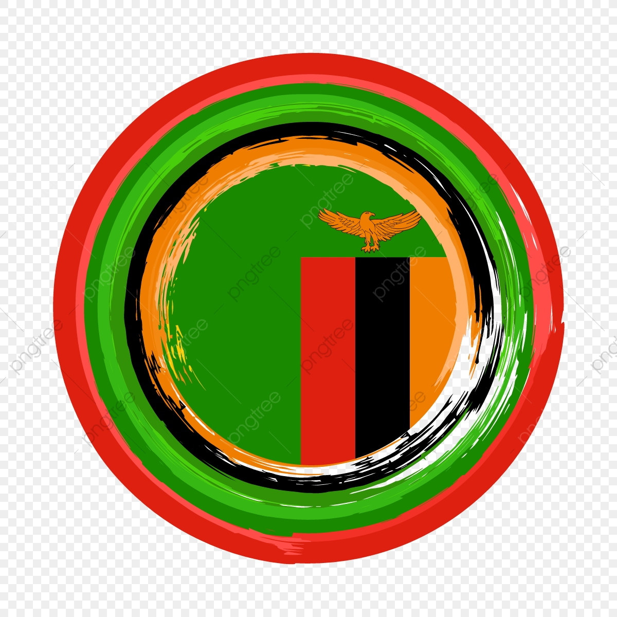 Zambia Flag Of Circle Brush Stroke Decoration, Zambia Flag