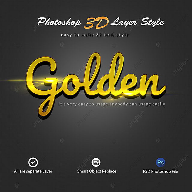 Golden Photoshop 3d Layer Style Art Font For Free Download