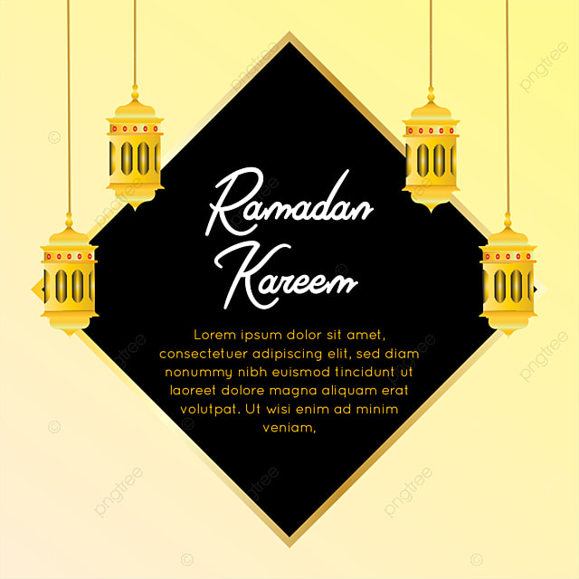 ramadan greeting card with golden framing kareem mubarak
