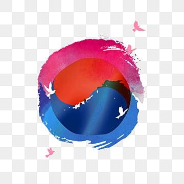 붉은 색 수채가 태극의 국기 원소로 번지다, 평화의 비둘기, 태극, 태극기 PNG 및 PSD