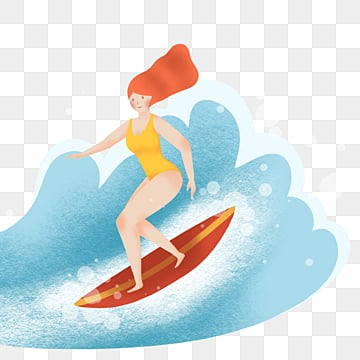 simple hand painted surfing girl characters, Character, Surfing, Cartoon PNG and PSD