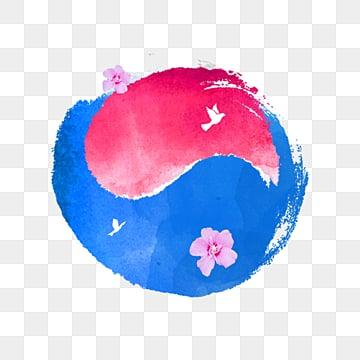 심플한 레드 블루 컬러 수채 태극 한국 국기 원소, 평화의 비둘기, 태극, 태극기 PNG 및 PSD