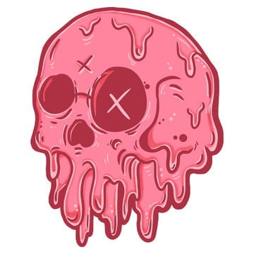 skull melted, Psd File, Psd, Sticker PNG and PSD
