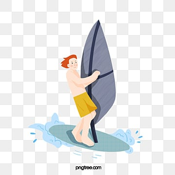 cartoon style summer sports surfing, People, Surfing, Cartoon PNG and PSD