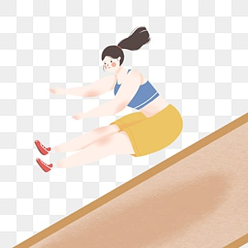 girls in long jump in simple cartoon games, Cartoon, Girl, Soft Pale PNG and PSD