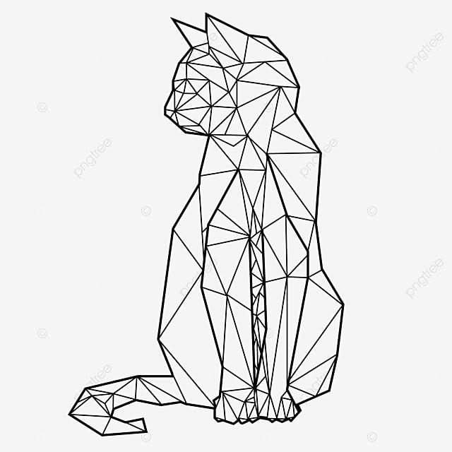 Gato Hecho Con Líneas Geométricas Sentado Mirando Para El