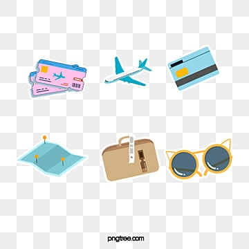 cartoon cute travel icon sticker, Cartoon, Lovely, Map PNG and PSD