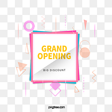 geometric line square opening label element, Promotion, Geometric, Square PNG and PSD