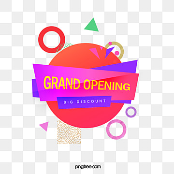 geometric round label grand opening element, Promotion, Geometric, Circular PNG and PSD