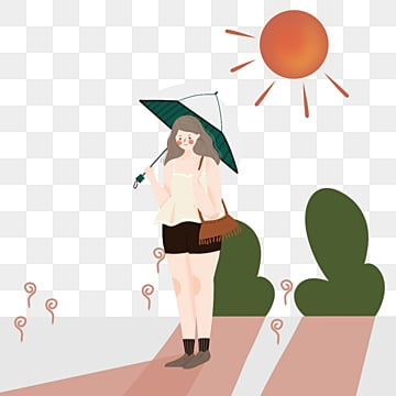 simple and fresh girl who goes out with an umbrella in summer, Lovely, Summer, Sunlight PNG and PSD