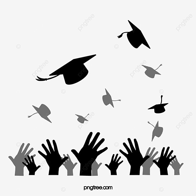 Flat Black Creative Silhouette Of Graduation Cap Thrown By