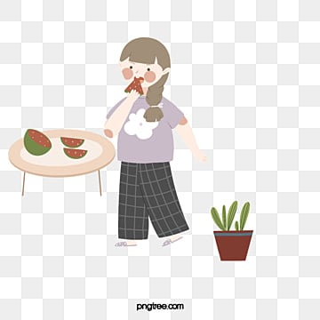 a simple and lovely watermelon eating girl, Lovely, Summer, Girl PNG and PSD