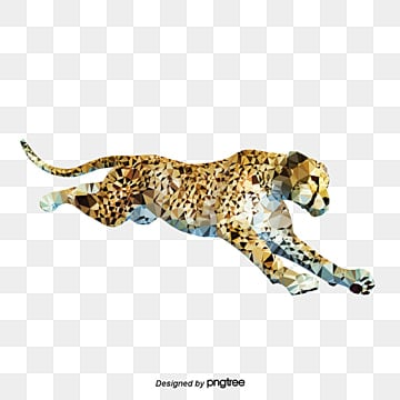 creative elements of running cheetah, Triangle, Creative, Running PNG and PSD