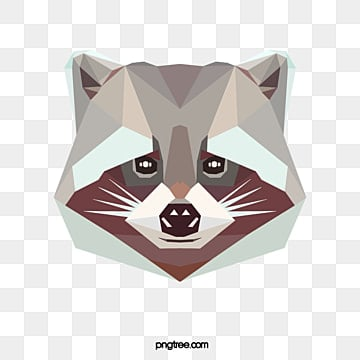polygonal cartoon raccoon, Animal, Cartoon, Polygon PNG and PSD