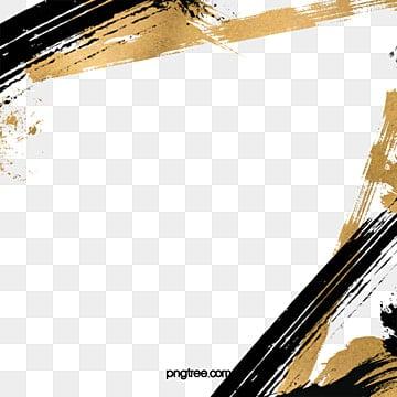 золотая и черная кисть, черный, Инсульт, Щетка PNG и PSD