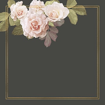 floral frame with gold line, Frame, Floral, Flowers PNG and PSD
