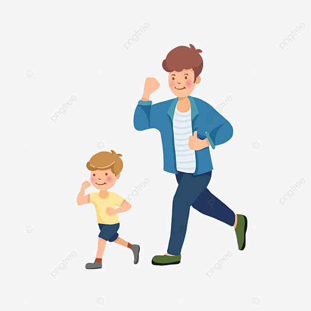 Gambar Kartun Ayah Dan Anak Berjalan Bersama Sama Bapa Anak Lelaki Ayah Png Dan Psd Untuk Muat Turun Percuma