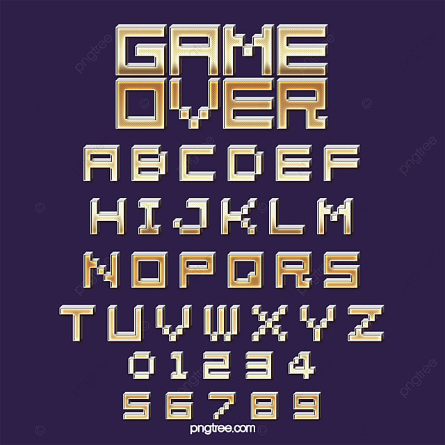 Fashion Cartoon Gradient Effect Game Cartoon Pixel Alphabet