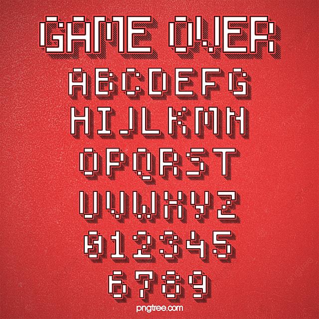 Fashion three-dimensional cartoon game style pixel alphabet