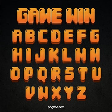 fashion gradient game style cartoon pixel alphabet Fonts