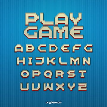 fashion three dimensional pixel game cartoon art word design Fonts