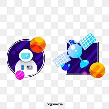 flat mapping of hand drawn cartoon space series labels, Cartoon, Space, Astronaut PNG and PSD