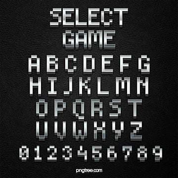 gradient style game cartoon pixel alphabet Fonts
